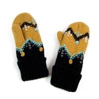 Palcové rukavice se vzorem žluté