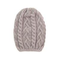 Pletená čepice s copánkovým vzorem béžová
