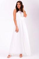 d905c93d2b9 Dlouhé plesové šaty bílé s krajkovým dekoltem
