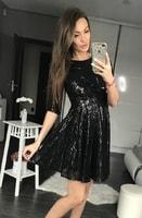 Dámské flitrované šaty černé