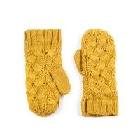 Palcové rukavice proplétané žluté