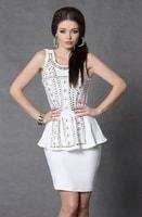Dámské peplum šaty bílé