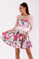 Béžové letní šaty s krajkou a květinovým vzorem 082717bbda