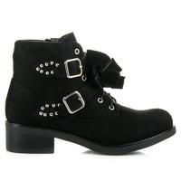 Kotníkové černé boty s mašličkami