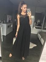 Dámské dlouhé šaty s perličkami černé