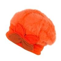 Oranžový dámský angorský baret s ozdobou