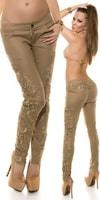 Béžové kalhoty s krajkou