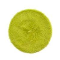 Zelený angorský baret s dlouhým vlasem
