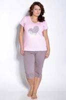 Dámské pyžamo Sylvie nadměrná velikost růžové mocca