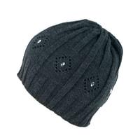 Čepice zdobená perličkam tmavě šedá