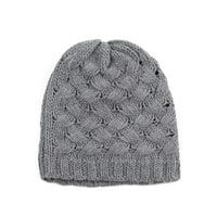 Čepice s průpletem šedá