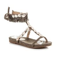 Vázané sandály s mušličkami hnědé