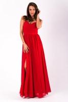 Dlouhé plesové jednoduché šaty červené