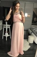 Luxusní dlouhé plesové šaty světle růžové