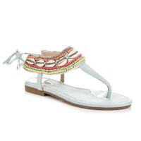 Vázané sandály etno modré