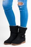 Nazouvací zateplené kotníkové boty černé