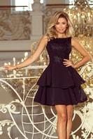 Společenské šaty s vyšívaným topem černé