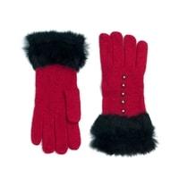 Vlněné rukavičky s kožíškem červené