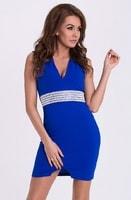 Modré pouzdrové šaty s ozdobným pasem