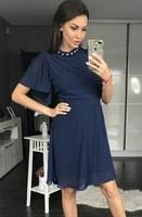 Dámské šaty s širokými rukávy tmavě modré