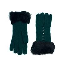 Vlněné rukavičky s kožíškem zelené