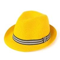 Měkký trilby klobouk na léto žlutý