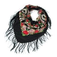 Folk, etnický šátek s třásněmi černý