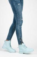 Dámské světle modré kotníkové boty trapery