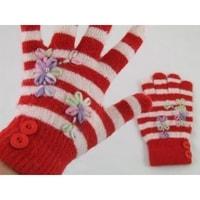 Prstové rukavice s pruhy červené