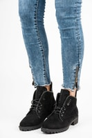 Stylové vázané kotníkové boty černé