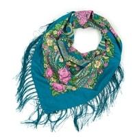 Folk, etnický šátek s třásněmi modrý