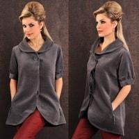 Módní jarní kabát šedý