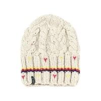 Zimní čepice s třemi pruhy béžová