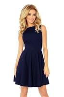Šaty s kolovou sukní a lodičkovým dekoltem tmavě modré