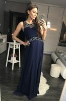 Luxusní dlouhé plesové šaty tmavě modré