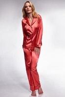 Luxusní saténové pyžamo Hayley korálové