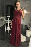 Luxusní dlouhé plesové šaty vínové