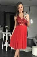 Dámské flitrované šaty červené