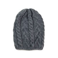 Pletená čepice s copánkovým vzorem tmavě šedá