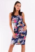 Modré šaty s květinovým vzorem