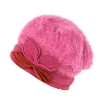 Angorský baret s ozdobou růžový