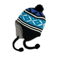 Zimní čepice - ušanka s modrým vzorem