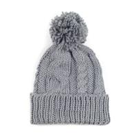 Teplá zimní čepice s střapcem šedá