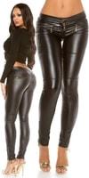 Černé lesklé dámské kalhoty