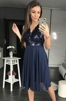 Dámské flitrované šaty tmavě modré