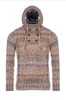 Béžový pletený svetr s kapucí