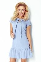 Modré šaty s volánem