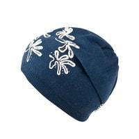Pletená čepice s květovaným vzorem modrá