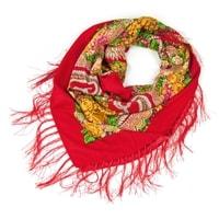 Červený folk šátek s třásněmi
