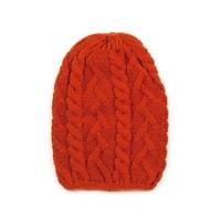 Pletená čepice s copánkovým vzorem červená